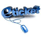 E-ticket in blue vector illustration