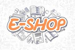 E-tienda - texto de la naranja del garabato Concepto del asunto Foto de archivo