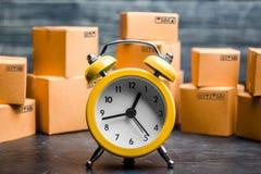 E Tijd van levering Beperkte levering, tekort aan goederen in voorraad, hype en de koorts van de consument Tijd royalty-vrije stock afbeelding