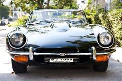 E-Tipo del giaguaro sulla parata dell'automobile dell'annata Fotografia Stock