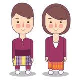 E Traditionelle nationale Kleidung Satz Zeichentrickfilm-Figuren im traditionellen Kostüm vektor abbildung