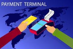 E Transaktionsbetalning som direktanslutet packar ihop kortet till och med terminalen E-kommers vektor illustrationer