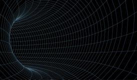 E Tunnel de wireframe de Digital 3d grille du tunnel 3D Technologie de cyber de r?seau surrealism Vecteur abstrait de fond illustration de vecteur