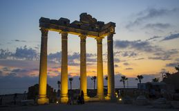 Side - Apollo Temple in evening illumination Royalty Free Stock Images