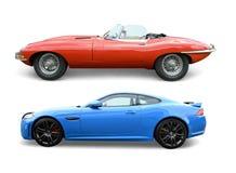 E-typ och f-typ Jaguar arkivfoton