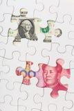 E.U. e moeda chinesa Fotografia de Stock Royalty Free