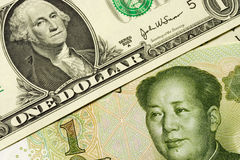 E.U. e moeda chinesa Foto de Stock Royalty Free