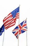 E.U., Ingleses, bandeiras da UE Fotografia de Stock