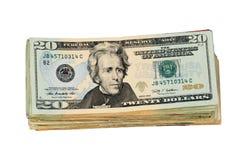 E.U. isolados vinte pilhas da conta de dólar Imagens de Stock Royalty Free