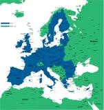 E.U. mapa político Imagens de Stock Royalty Free
