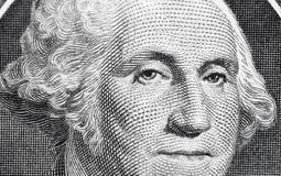 E.U. um 1 nota de dólar em um tiro macro, macro super, fim acima da foto Profundidade rasa do efeito de campo George Washington Fotografia de Stock Royalty Free