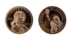 E.U. uma moeda do dólar - Sacagawea e estátua da liberdade fotografia de stock