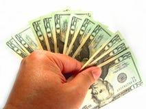 E.U. vinte contas & mão de dólar Fotografia de Stock