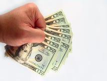 E.U. vinte contas & mão de dólar Foto de Stock
