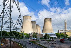 The E.ON UK power station at Ratcliffe-on-Soar cooling towers Royalty Free Stock Photo