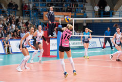E. Ulanova (14) in action. MOSCOW - NOVEMBER 2, 2016: E. Ulanova (14) in action on game Dynamo MSK vs Dynamo KZN on Russian National wemen Volleyball Stock Photography