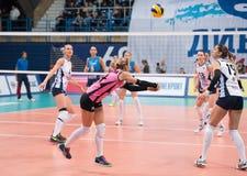 E. Ulanova (14) in action. MOSCOW - NOVEMBER 2, 2016: E. Ulanova (14) in action on game Dynamo MSK vs Dynamo KZN on Russian National wemen Volleyball Stock Image