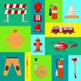 E Uniforme e inventario del bombero Casco, guantes Equipo como boca de riego del firehose libre illustration
