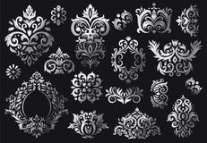 E Utsmyckad blom- kvistmodell, lyxiga damast prydnader och victorian kypertdamastmodeller royaltyfri illustrationer