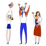 E Vakantie, 4 van juli, familie, royalty-vrije illustratie