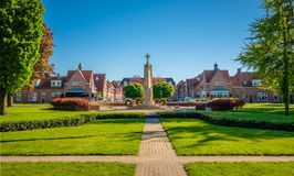 View of the Alderman E. van Dronkelaarsquare in Almelo Netherlands. The E. Van Dronkelaarsquare in Almelo is famous for its Monument for the Fallen 1951 where stock photography