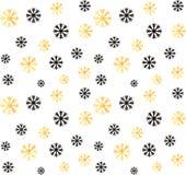 E Vector abstracte achtergrond met gouden, zwarte sneeuwvlokken Stock Fotografie