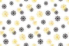 E Vector abstracte achtergrond met gouden, zwarte sneeuwvlokken Stock Afbeeldingen