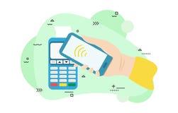 E Vektorpos.-terminalen bekr?ftar betalningen vid smartphonen Hand med smartphonen n?ra pos. vektor illustrationer