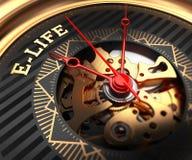E-vida na cara Preto-dourada do relógio Fotografia de Stock Royalty Free