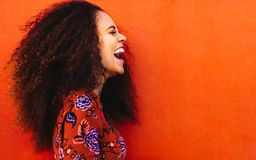 Laughing african young woman with curly hair stock photography