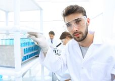 Young male scientist looking at a sample in a test tube side vie. E view portrait of a scientist, uses a test tube and looking at the camera while working on Royalty Free Stock Image