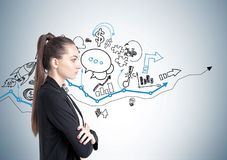 Crossed arms businesswoman, business plan Royalty Free Stock Images