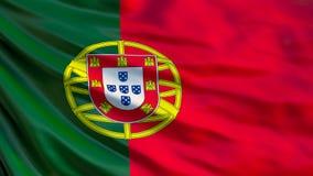 E Vinkande flagga av den Portugal 3d illustrationen stock illustrationer