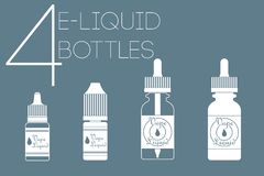 4 e-vloeibare flessen Stock Foto