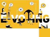 E-votación creativa y gente del concepto de la palabra que hacen cosas ilustración del vector