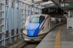E7/W7 Series bullet (High-speed or Shinkansen) train. NAGANO,JAPAN-APRIL 8,2016:E7 Series bullet (High-speed or Shinkansen) train.This train operated by JR East Royalty Free Stock Photography