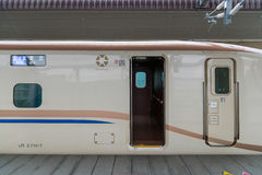 E7/W7 Series bullet (High-speed or Shinkansen) train's door. Stock Images