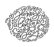 E Walentynka dnia ręka rysujący literowanie Kierowy Wakacyjny nakreślenie royalty ilustracja