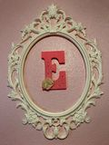 E Wall Art. Letter E wall hanging framed E royalty free stock photography
