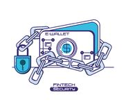 E-wallet with financial technology security. Vector illustration design Stock Photo