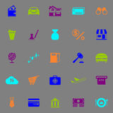 E wallet icons fluorescent color on gray background Royalty Free Stock Photography