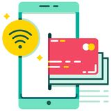 E-wallet Near-filed communication payment flat illustration vector illustration