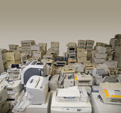 E-waste. Lots of used printers ready for recycling Stock Images