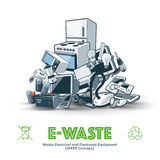 E-waste Pile. The waste electrical and electronic equipment pile. Computer and other obsolete electronic waste stack. Waste management concept Royalty Free Stock Photography
