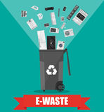 E-waste recycle bin with old electronic equipment Royalty Free Stock Photography