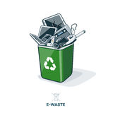 E-Waste in Recycling Bin. Electronic waste in green recycling bin with discarded electrical and electronic devices such as computer monitor, cell phone, radio royalty free illustration