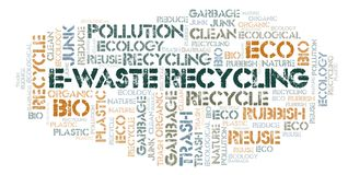 E-Waste Recycling word cloud. Wordcloud made with text only stock photos