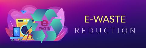 E-waste reduction concept banner header. Businessman taking old smartphone in cart to electronic waste recycling. E-waste reduction, electronics trade-in royalty free illustration