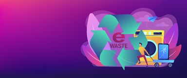 E-waste reduction concept banner header. Businessman taking old smartphone in cart to electronic waste recycling. E-waste reduction, electronics trade-in vector illustration