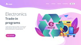 E-waste reduction concept landing page. Businessman taking old smartphone in cart to electronic waste recycling. E-waste reduction, electronics trade-in stock illustration